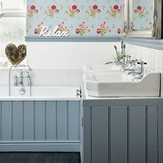 Blue floral wallpaper, blue bath surround and white basins Paint - Bone China Blue by Little Greene Bath panel - B&Q Bathroom Styling, Country Style Bathrooms, Floral Bathroom, Bathroom Red, Bathroom Decor, Bathroom Wallpaper, Bathroom Cladding, Shabby Chic Bathroom, Easy Bathroom Decorating