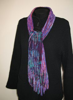 Faux Chenille Scarves -5-7 layers of Rayon fabrics, cut on the bias, are used to create these supple, warm scarves.
