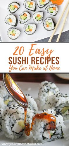 Missing your favorite sushi recipes? Here are 20 you can easily make at home. These go great with my homemade eel sauce Diy Sushi, Sushi Sushi, Tempura Sushi, Make Sushi, Making Sushi At Home, Sushi Ideas, Healthy Sushi, Sushi Food, Sushi Time