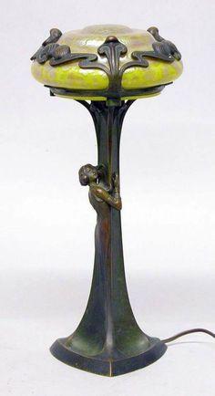 Art Nouveau - Lampe de table Loetz Glass Années 1900