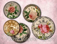 ROSE TIME clock bottlecap 1 inch circle digital art. Digital Collage Sheet Printable download Image.Vintage graphic.810. via Etsy.