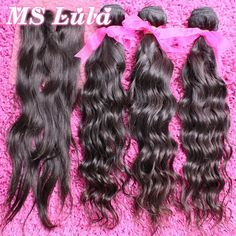 Free Shipping Peruvian Virgin Hair Natural Wave remy human hair 3pcs Hair bundles with 1pc  Lace top closure Ms Lula hair - SPlendid Looks