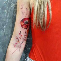 Red Poppy Tattoo by Simona Blanar
