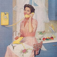 Ad Telephone 1950s A kitchen phone in canary yellow was no longer a luxury but a necessity for the housewife
