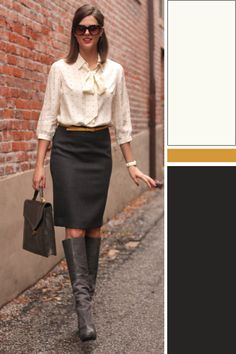 my fav look for work professinal, ladylke and simple. A look that garners respect.