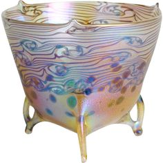 Art Nouveau Bowl, 'Golden Rain', in the style of Loetz. Offered by Oljos on RubyLUX.