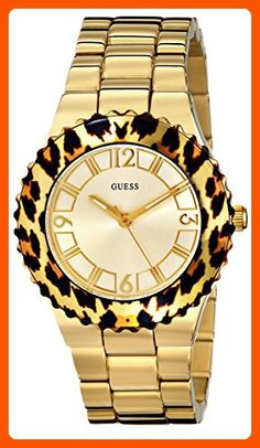 GUESS Women's U0404L1 Gold-Tone Watch with Animal Print Top Ring - All about women (*Amazon Partner-Link)
