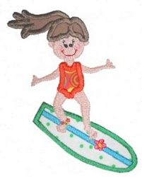 Girl on Surfboard Applique 3 Sizes | Beach/Ocean | Machine Embroidery Designs | SWAKembroidery.com Bella Marie Boutique