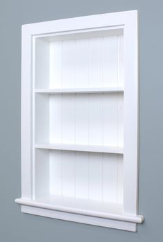 White Recessed Aiden Wall Niche w/Beadboard Back by Fox Hollow Furnishings - (Also Available in Dark Brown and Unfinished) Recessed Shelves, Recessed Medicine Cabinet, Wood Shelves, Bathroom Medicine Cabinet, Medicine Cabinets, Glass Shelves, Unique Shelves, White Shelves, Small Shelves