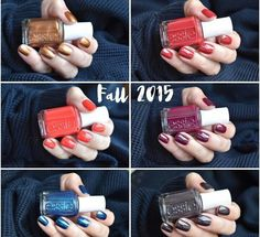 Essie fall collection Fall 2015 Left to right .... -leggy legend  -with the band  -color binge  -in the lobby -bell bottom blues  -frock 'n roll