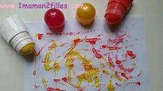 1maman2filles activités manuelles, peinture avec des déos