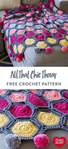 All Chic Throw free crochet pattern in Red Heart Chic Sheep yarn. Watch this vibrant crochet Crochet Heart Blanket, Crochet Ripple, Manta Crochet, Free Crochet, Crochet Afghans, Scrap Yarn Crochet, Crochet Throws, Crochet Rug Patterns, Pin On