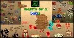 SimsDelsWorld: The Sims 4 : Graffiti set 01 mega pack!