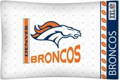 Denver Broncos Logo Pillow Case by Sports Coverage. Save 44 Off!. $11.29. Pillow case is standard size, approx 20x30. A perfect compliment to the room of a true die-hard fan! One Standard pillow case with team logo printed on the center.