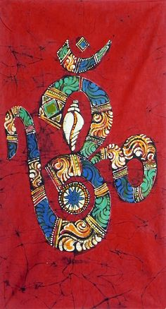 Hindu Symbol Om with Shankh and Chakra (Batik Painting on Cotton Cloth - Unframed))