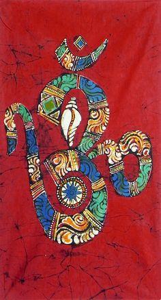 Hindu Symbol Om with Shankh and Chakra (Batik Painting on Cotton Cloth - Unframed))