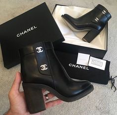 Chanel Black Boots Shoes Leather Ankle Gold Logo Chunky Heel Heels High Platform Lace Up Combat - PhotoDip High Heels Boots, Heeled Boots, Shoe Boots, Shoe Bag, Ankle Boots, Chanel Boots, Chanel Outfit, Chanel Chanel, Cute Shoes