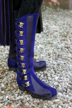 Purple 9 Button Square Toe Boot w/ Purple Suede