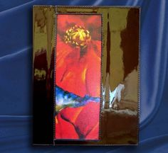 """This features the painting """"Red Poppies"""" by Artist Gale Patterson. Dark brown patent  leather. Only $39.00"""