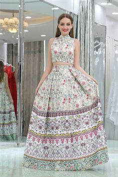 Customized Fancy Long Prom Dresses Two Piece High Neck Floral Long Prom Dress Evening Dress Prom Dress Prom Dresses Long High Neck Evening Dress Two Pieces Prom Dresses Prom Dresses 2019 Unique Homecoming Dresses, Floral Prom Dresses, African Prom Dresses, Prom Dresses Two Piece, Long Summer Dresses, A Line Prom Dresses, Beautiful Prom Dresses, Lace Bridesmaid Dresses, Evening Dresses