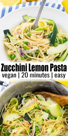 This one pot pasta with lemon and zucchini makes the perfect weeknight dinner. It's vegan, super easy to make, comforting, and ready in only 20 minutes! One of my favorite vegan pasta recipes or vegan dinner recipes in general! #vegan #pasta #veganrecipes