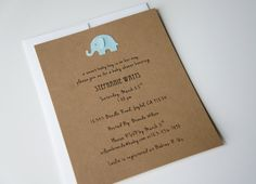 Baby Boy Shower or Announcement Invitation - Pearly Blue Elephant
