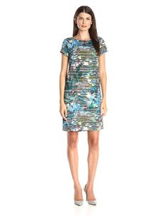 London Times Women's Linear Abstract Short Sleeve Scuba Printed Shift Dress ** This is an Amazon Affiliate link. Click image to review more details.