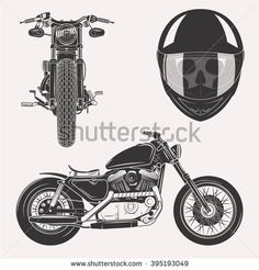 Vintage vector motorcycle set with skull in motorbike helmet front profile isolated on white background