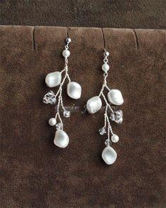 White Swarovski Pearl Y Shape Vine Bridal Set - Necklace Earrings Wedding jewelry Set for Brides and bridesmaids. $93.00, via Etsy.