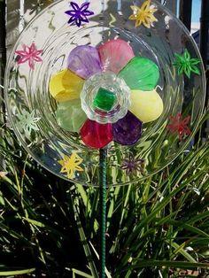 DIY Glass Plate Yard Flowers | Glass Garden Flower Plate | yard