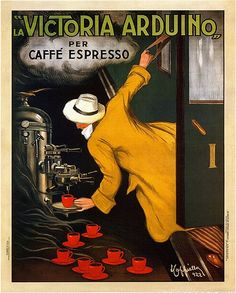 advertising, classic posters, food, free download, free printable, french poster, graphic design, printables, retro prints, vintage, vintage posters, vintage printables, italian poster, La Victoria Arduino Caffe Expresso 1922 Italy - Vintage Advertising / Coffee Poster