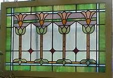 Fine stained glass workmanship, outer section is slag green with blue and white slag cross sections. The center section is wavy opalescent with 3 ruby red diamonds. Antique Stained Glass Windows, Stained Glass Door, Stained Glass Flowers, Stained Glass Designs, Stained Glass Panels, Stained Glass Projects, Stained Glass Patterns, Leaded Glass, Window Glass