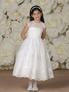 Joan Calabrese First Communion Dress - Joan Calabrese 113370 - Lace and Satin Trimmed