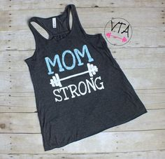 Mom Strong Workout Tank Top Womens Workout by VersionTwoApparel