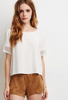 www.imdb.me/jessicasirls  fashion style suede crochet blouse  Crochet-Paneled Blouse | Forever 21 - 2000053697
