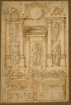 Anonym nach Michelangelo, Aufriß eines projektierten Doppelgrabes für die Magnifici in der Medici-Kapelle © Albertina, Wien  #Michelangelo #Renaissance #Drawing #GraphicArt #GraphicCollection #Masterpiece