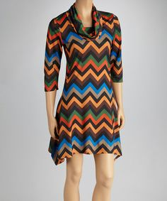 Look at this #zulilyfind! Orange Zigzag Sidetail Dress by Reborn Collection #zulilyfinds