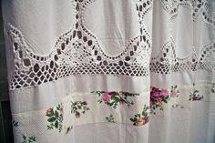 Shower Curtain // Royal Albert // Cotton // Decorative // Bathroom Set // Crochet // Custom made // hand made. $125.00, via Etsy.
