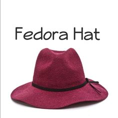"""✨Coming Soon✨Fedora Hat Super chic burgundy hat perfect for any outfit. Lightweight with a pinch at the crown and faux suede tie on the side. Opening: 23.25"""" Brim: 3"""" made: 100% Polyester Accessories Hats"""