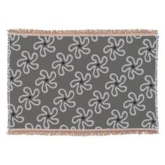 Dancing Gray Floral Abstract Pattern Throw Blanket