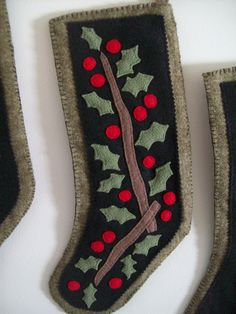 Primitive Christmas Stocking (Holly) | Flickr - Photo Sharing!
