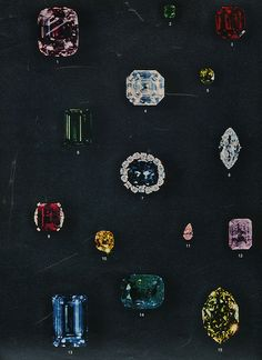 famous gemstones, with the Hope in the middle