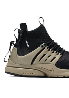 "Sportswear: Acronym x Nikelab Air Presto Mid "" Bamboo"". September 2016 by SportswearFix™ . Men's Shoes, Nike Shoes, Shoe Boots, Men's Fashion, High Fashion, Skate Wear, Ootd, Street Style, Urban Outfits"