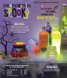 The Scentsy 2016 SeptemberWarmer of the month ~ HOCUS POCUSSCENTSY WARMER!  Brew up some Halloween lore of your own with Hocus Pocus! The intricate, hand-wound wire construction of the tree and web adds spooky-cool craftsmanship to this spellbinding scene. $55.00 $49.50 on sale the Month ofSeptember 2016 Avai…