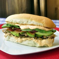 Grilled Chicken Avocado Club Sub with Spicy Sundried Tomato Mayo