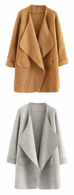 Joeoy Women's Wide Lapel Open Front Long Sleeve Knit Coat