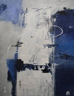 Set of 2 Abstract Paintings / Blue and Grey Abstract Art /