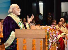 The Prime Minister Shri Narendra Modi delivering the Convocation Address at the 5th Convocation of Shri Mata Vaishno Devi University at Katra in Jammu ..Excelsior\Photo