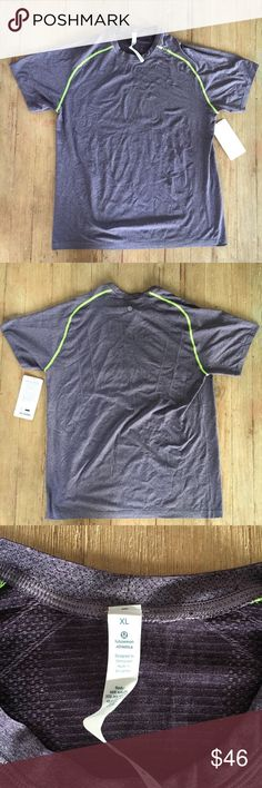 Lululemon Metal Vent Tech Shirt NWT Purple with neon yellow outline.  Sharp shirt!  Minor snag on front but not noticeable. lululemon athletica Shirts Tees - Short Sleeve