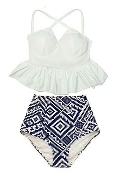 PRODUCT INFORMATION  Retro padded top and high waisted bottom swimsuit   Looking for more varieties of this pattern swimsuits, please take a look at :  http://www.etsy.com/shop/venderstore?section_id=13804771 Visit our shop here >>>  http://www.etsy.com/shop/Venderstore    Keep in touch with us, and be the first to know our HOT PROMOTION !!! on Facebook  www.facebook.com/venderstore      DETAIL OF ITEM :   Condition : New without tags    Size : We have 4 sizes : S, M, L and XL. S : Bust…